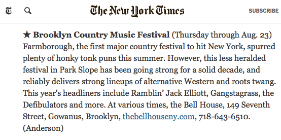 NY TIMES LISTING ABOUT THE BROOKLYN COUNTRY                     MUSIC FESTIVAL