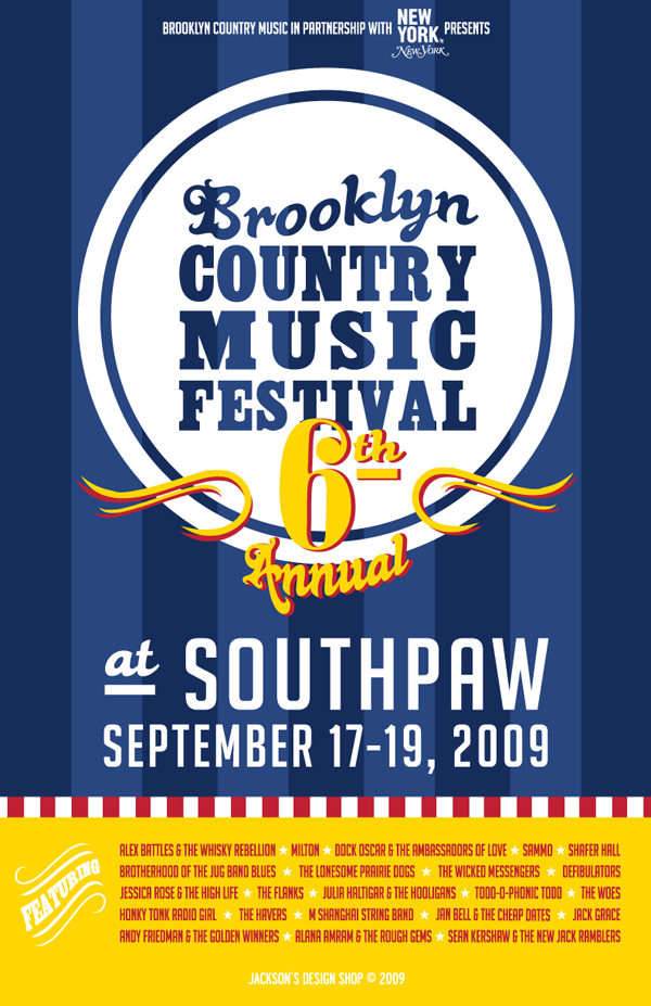 6th Brooklyn Country Music Festival Poster